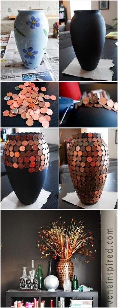 vaso fatto con centesimini