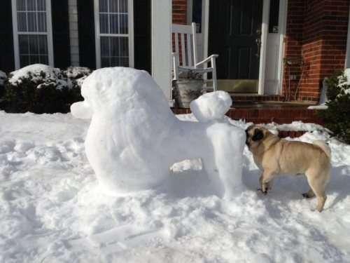 sculture buffe fatte con la neve