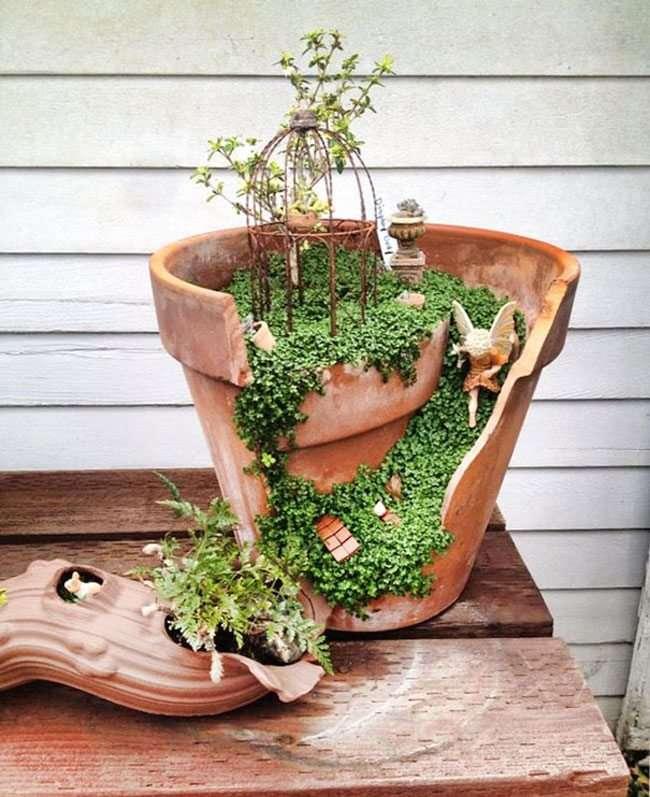 Idee per il giardino riciclo con vasi di terracotta 18 foto for Oggetti da giardino