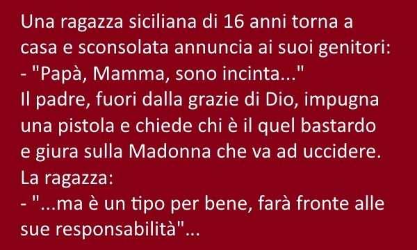 Una ragazza siciliana di 16 anni tona a casa e sconsolata annuncia ai genitori: Papà, mamma sono incinta.