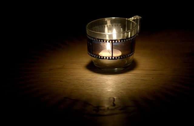 Fai da te negativi fotografie su candela