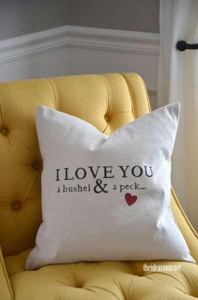 Cuscino con frase d'amore