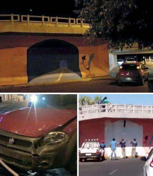Incidente auto galleria su muro