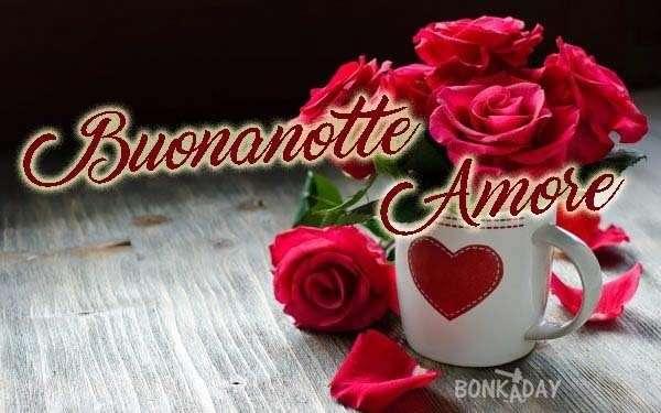 Buonanotte amore con rose