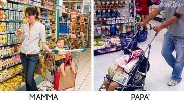 Genitori a fare la spesa