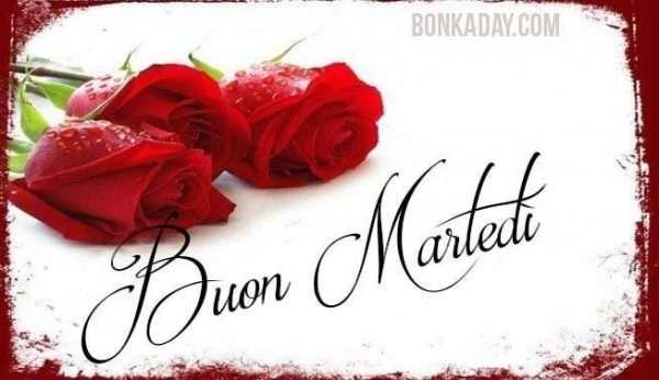 Buongiorno, amore, romantico con rose rosse