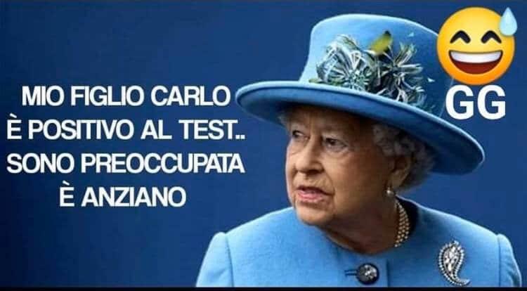 Immagini divertenti regina Elisabetta, Carlo e il coronavirus.