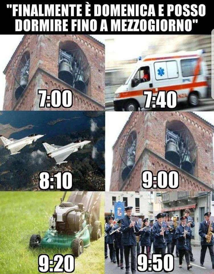 I rumori di quando vuoi dormire la domenica mattina