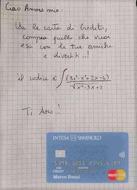 Puoi usare la mia carta di credito dopo aver risolto l'equazione